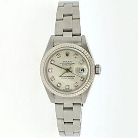 Rolex Datejust 18K Gold/Steel 26mm Factory Silver Diamond Dial Watch 79174