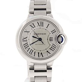 Cartier Ballon Bleu 33MM Silver Roman Dial Auto Steel Ladies W6920071 Box&Papers