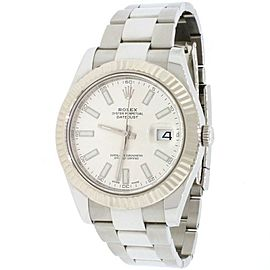 Rolex Datejust II White Gold Fluted 41mm Factory Stick Steel 116334 Box&Papers