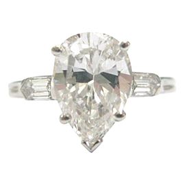 Tiffany & Co Pear & Bullet Shape Three-Stone Diamond Engagement Ring 2.83C G-VS1