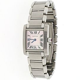 Cartier Tank Francaise Small Silver Roman Dial 20MM Steel Ladies Watch W51008Q3