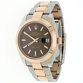 Rolex Datejust 41 2-Tone 18K Chocolate Dial Oyster Watch 126333 Box and Papers
