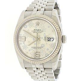 Rolex Datejust 18K White Gold/Steel Silver Floral Dial 36MM Jubilee Watch 116234