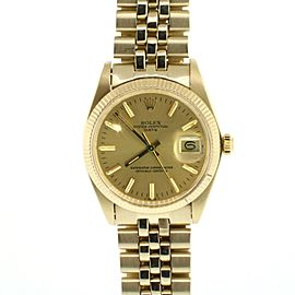Rolex Date Vintage 34mm Yellow Gold Jubilee Champagne Dial Watch