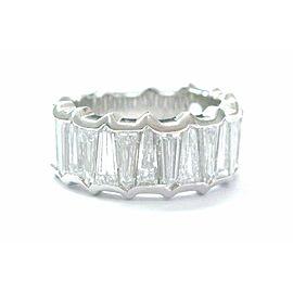 Natural Bullet Cut Diamond Band Ring Platinum 21-Stone Sz 5.75 5.50Ct