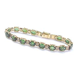 "18KT Green Tourmaline & Diamond Yellow Gold Tennis Bracelet 6.25"" 11.98Ct"