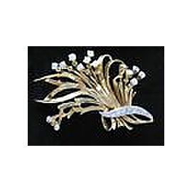 Fine 18Kt Vintage Diamond Basket Pin / Brooch 1.15CT