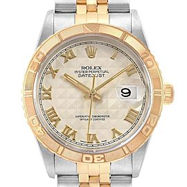 Rolex Datejust Turnograph 36 Steel Yellow Gold Pyramid Dial Watch 16263