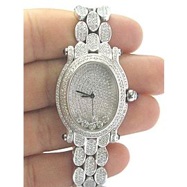 18Kt Oval Shape NATURAL Diamond SOLID White Gold Watch 10.00Ct