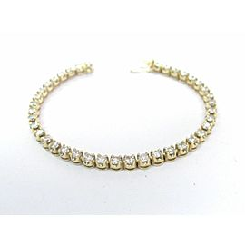 Yellow Gold Round Diamond Tennis Bracelet G-H/VS2 Solid 14KT 4.26Ct 39-Stones 7""