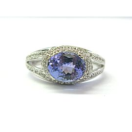Natural Oval Tanzanite & Diamond White Gold Jewelry Ring 2.10Ct 14Kt