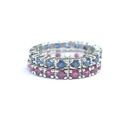 Fine Gem Sapphire & Ruby White Gold Eternity Band Rings 14Kt 3.20Ct Size 6.5