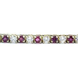 "Fine Gem Ruby Diamond Yellow Gold Tennis Bracelet 5.30CT 7"""