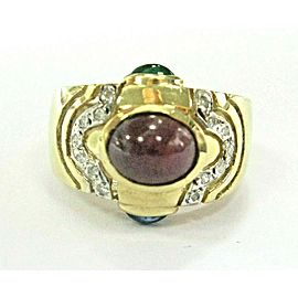 Ruby Sapphire Emerald & Diamond Ring 14KT Yellow Gold 4.15Ct