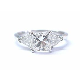 Princess & Trillion Cut NATURAL Diamond Engagement White Gold Ring G-VS2 GIA