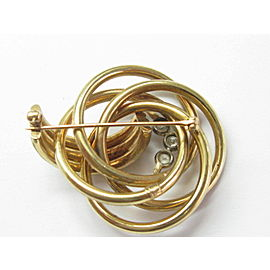 Overlapping Circular Diamond Bezel Solid Yellow Gold Pin / Brooch .45Ct 1x1.5""