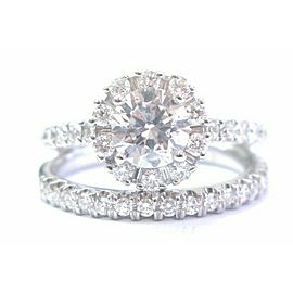 Round & Baguette Diamond Wedding Set Solid 14Kt White Gold Size EGL USA 1.79CT