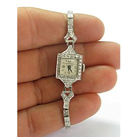 Platinum Longines Vintage Diamond Watch .35Ct 6""
