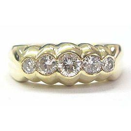 18Kt Men's 5-Stone Diamond Yellow Gold Ring 0.87Ct