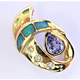 Natural Pear Shape Tanzanite Opal & Diamond Solid Yellow Gold Pendant 14Kt .83Ct