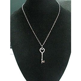 "Tiffany & Co Diamond Heart Key Pendant W Chain 18Kt White Gold 16"" 1.5"" .08Ct"