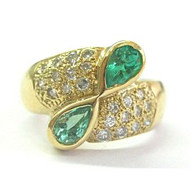 18Kt Green Emerald & Diamond Bypass Ring Yellow Gold 1.75Ct SIZEABLE