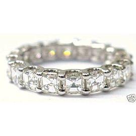Fine 14Kt Asscher Cut NATURAL Diamond Eternity Ring 3.15Ct White Gold Size 6