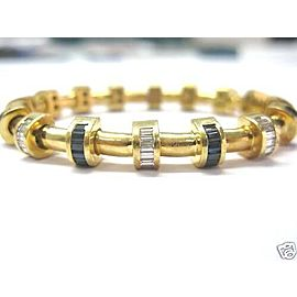 Charles Krypell Diamond Sapphire 18KT Yellow Gold Bracelet