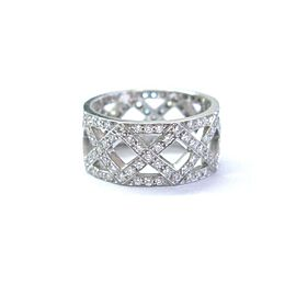 Tiffany & Co Platinum Braided Diamond WIDE Band Ring 8.5mm 1.25Ct Sz 5.5