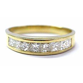 18KT Princess Cut Diamond Channel Set Band Ring 8-Stone Yellow Gold 1.26CT