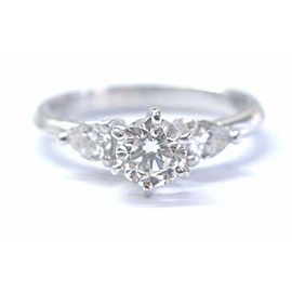 Platinum Round & Pear Shape Diamond 3-Stone Engagement Ring .79Ct G-VS2
