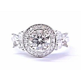 CALLA NELSON 18K Round Diamond Solitaire W Accent Cut White Gold Engagement Ring
