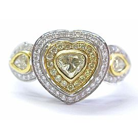 Fancy Yellow Diamond Heart Pear & Round Shape Ring 18Kt White Gold .90Ct
