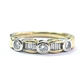 A Jaffe 18Kt Round & Baguette Diamond 2-Tone Band Ring .36Ct