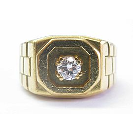 ABL Men's 18Kt Round Cut Diamond Solitaire Yellow Gold Square Ring .39Ct E-VVS2