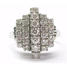 Platinum VINTAGE 5-Row Diamond Jewelry Ring 1.03CT