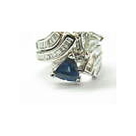 Trillion Ceylon Sapphire & Diamond Multi Shape Cocktail Ring 14Kt White Gold