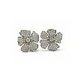 Vera Wang Titanium Diamond Flower Earrings 1.30CT