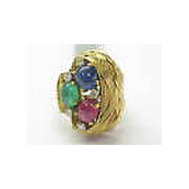 18K Gem Ruby Sapphire Emerald Diamond Solitaire W Accents Jewelry Ring YG 3.55Ct
