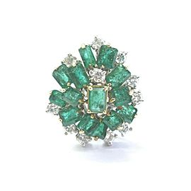 Colombian Green Emerald & Diamond Cluster Ring Solid 14KT White Gold 6.10Ct