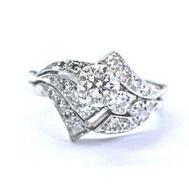 Fine Round Cut Diamond White Gold Engagement 3-Row Ring .77Ct 14KT