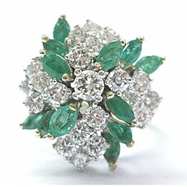 Green Emerald & Diamond Cocktail Ring Solid 14Kt Yellow Gold 3.00Ct SIZEABLE