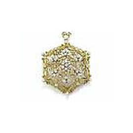 "18KT VINTAGE Diamond Pendant/Brooch Yellow Gold 1.20CT 2"" F Color"