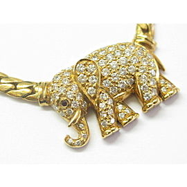 Elephant Diamond Necklace 18Kt Yellow Gold 1.25Ct 17""