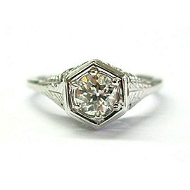Vintage Old European Cut Diamond Ring 18Kt White Gold .75Ct G-VS2