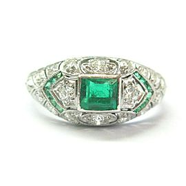 Vintage Colombian Emerald & Old European Cut Diamond Ring Platinum 950 1.20Ct
