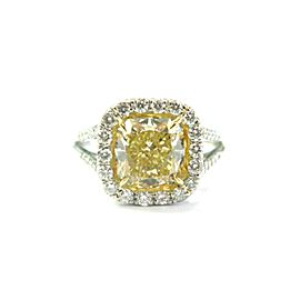 Fancy Yellow Cushion Diamond Halo Engagement Ring Platinum 950 2.96Ct