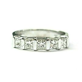 Five Stone Princess Cut Diamond Band Bar Setting 14Kt White Gold 1.00Ct