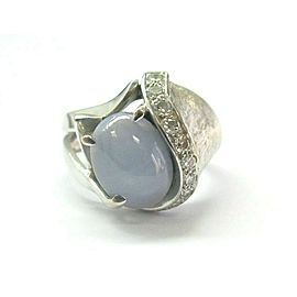 Fine Blue Star Sapphire & Diamond White Gold Ring 4.75ct 14KT