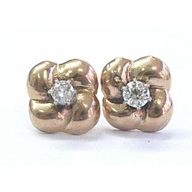 Fine Old European Cut Diamond Rose Gold Stud Earrings 14Kt .40CT